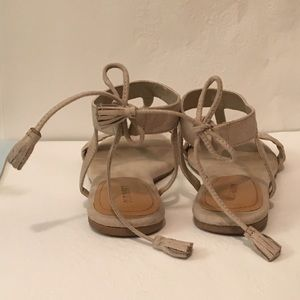 Tan Suede Sandals with Tassel Ties